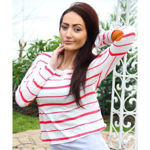 Chic Scoop Neck Striped Elbow Spliced Long Sleeve T-Shirt For Women - RED S