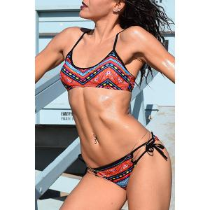 Ethnic Printed Strappy Bikini Set For Women