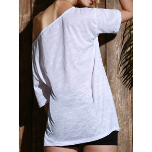 Casual 1/2 Sleeve Loose-Fitting Solid Color T-Shirt For Women - WHITE M