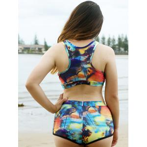 Sexy Scoop Neck Print Two-Piece Tropical Bathing Suit For Women - COLORMIX S