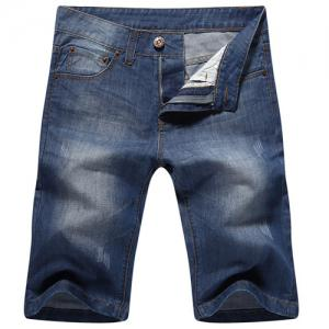 Casual Straight Legs Zip Fly Loose Denim Shorts