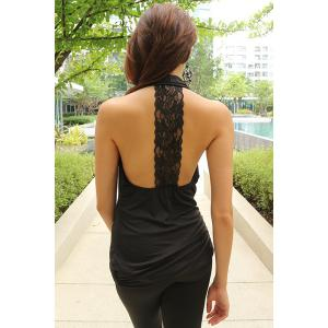 Trendy Plunging Neck Lace Spliced Backless Bodycon Dress For Women -