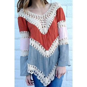 Crochet Panel Beach Tunic Cover Up Top - Red - One Size(fit Size Xs To M)