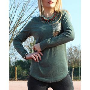 Chic Scoop Collar Long Sleeve Sequined Women's T-Shirt - Blackish Green - Xl