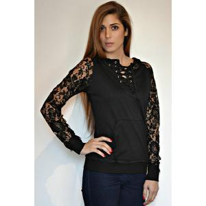 Stylish Lace Splicing Lace-Up Long Sleeve Hoodie For Women - BLACK M