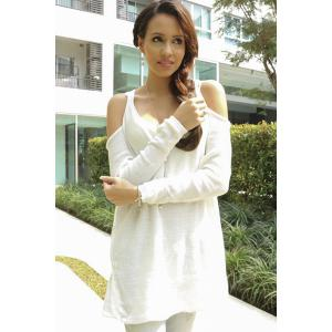 Trendy Sweetheart Neck Cut Out Solid Color Long Sleeve Sweater For Women - WHITE L