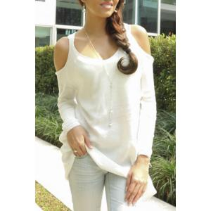 Trendy Sweetheart Neck Cut Out Solid Color Long Sleeve Sweater For Women - White - Xs