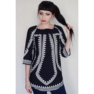 Off-The-Shoulder Long Sleeve Printed Casual Dress -