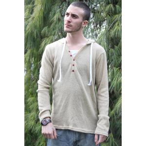 Single-Breasted Drawstring Hooded Solid Color Slimming Long Sleeves Men's Thicken Sweater - Beige - Xl
