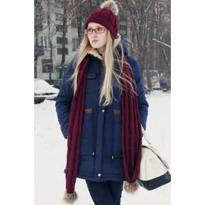 Casual Hooded Drawstring Design Thicken Long Sleeve Coat For Women -