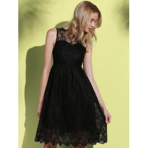 Midi Illusion Yoke Lace Party Short Prom Dress -