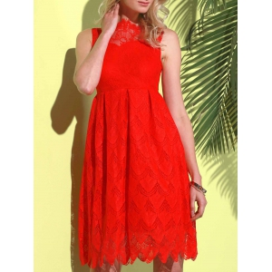 Midi Illusion Yoke Lace Party Short Prom Dress