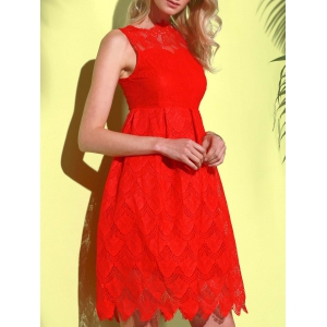 Midi Illusion Yoke Lace Party Short Prom Dress - RED S