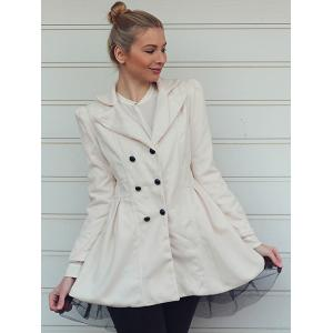 Long Sleeves Lapel Double-breasted Beam Waist Voile Stitching Plicated Ruffles Long Edition Ladylike Women's Coat - WHITE M
