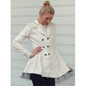 Long Sleeves Lapel Double-breasted Beam Waist Voile Stitching Plicated Ruffles Long Edition Ladylike Women's Coat -
