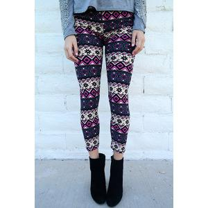 Chic Geometrical Print Color Block Skinny Leggings For Women - Colormix - One Size(fit Size Xs To M)