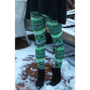 Stylish Elastic Waist Skinny Printed Colored Women's Leggings - Green - One Size(fit Size Xs To M)