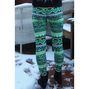 Stylish Elastic Waist Skinny Printed Colored Women's Leggings -