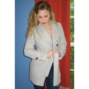 Elegant Stand Collar Candy Color Belt Design Long Sleeve Coat For Women - GRAY M