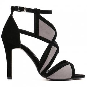 Stylish Colour Block and Flock Design Sandals For Women -