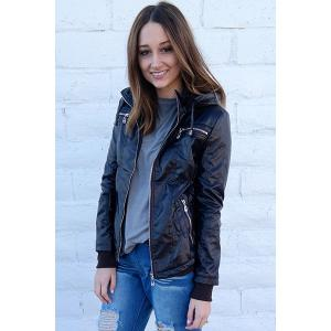 Chic Hooded Solid Color Detachable Sleeve Faux Leather Jacket For Women - COFFEE M