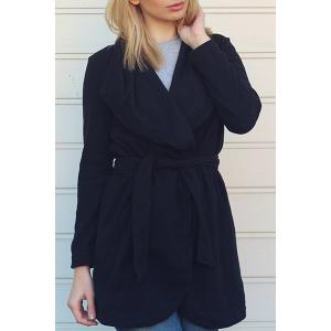 Chic Turn-Down Collar Long Sleeve Pure Color Irregular Hem Coat For Women - Black - L