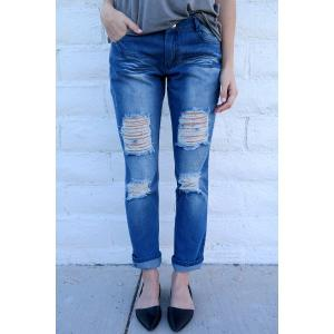 Distressed Tapered Boyfriend Jeans - Blue - M