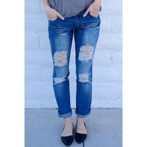 Distressed Tapered Boyfriend Jeans - BLUE S