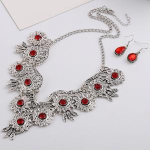 A Suit of Retro Rhinestone Water Drop Necklace and Earrings - RED