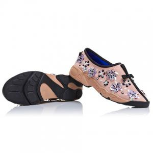 Trendy Flowers and Slip-On Design Sneakers For Women -