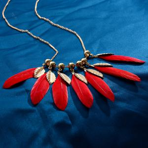 Feather Alloy Pendant Necklace - RED