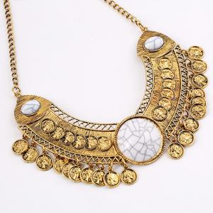 Vintage Coin Hollow Out Necklace For Women -