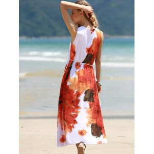 Round Collar Sleeveless Floral Chiffon Sun Dress -