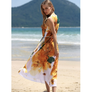 Graceful Round Collar Sleeveless Yellow Floral Print Chiffon Dress For Women -