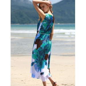 Graceful Round Collar Sleeveless Floral Print Chiffon Midi Dress For Women -