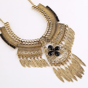 Vintage Leaf Floral Hollow Out Necklace - GOLDEN