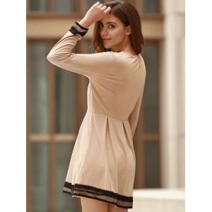 Sweet Round Collar Lacing Long Sleeve Dress For Women -