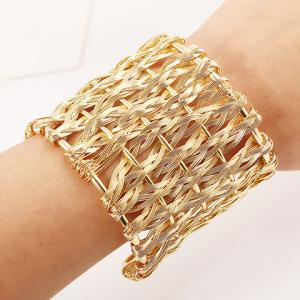 Punk Woved Hollow Out Cuff Bracelet - GOLDEN