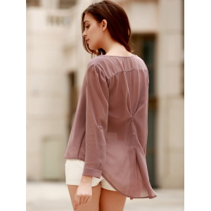Stylish V-Neck Coffee High Low Long Sleeve Blouse For Women -