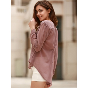 Stylish V-Neck Coffee High Low Long Sleeve Blouse For Women - COFFEE S