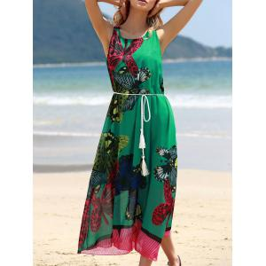 Graceful Round Collar Sleeveless Butterflies Print Tea Length Chiffon Dress For Women