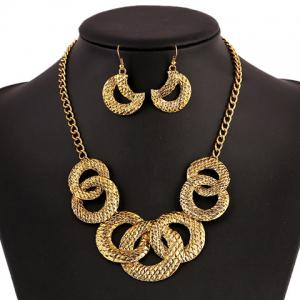 A Suit of Vintage Round Moon Necklace and Earrings - GOLDEN