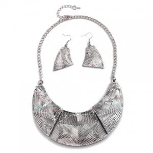 A Suit of Vintage Alloy Geometric Necklace and Earrings For Women