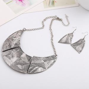A Suit of Vintage Alloy Geometric Necklace and Earrings For Women - SILVER