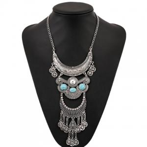 Vintage Rhinestone Faux Turquoise Moon Necklace - SILVER AND BLUE