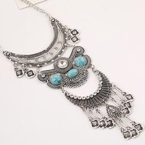 Vintage Rhinestone Faux Turquoise Moon Necklace - SILVER/BLUE
