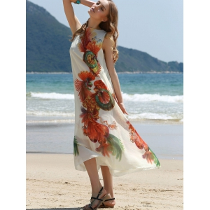 Retro Style Jewel Neck Sleeveless Printed Tea Length Loose Dress For Women -