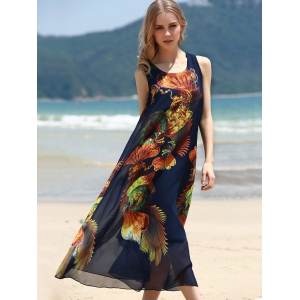 Retro Style U Neck Sleeveless Printed Tea Length Chiffon Dress For Women -