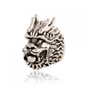 Punk Style Dragon Head Shape Ring For Men - Silver - One-size