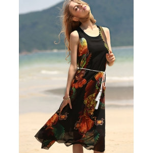 Vintage Style U Neck Sleeveless Printed Chiffon Self Tie Belt Dress For Women - BLACK ONE SIZE(FIT SIZE XS TO M)